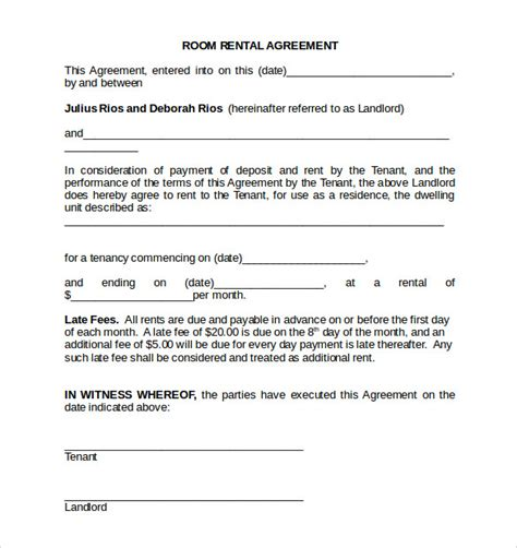 room rental agreements printable sle simple room