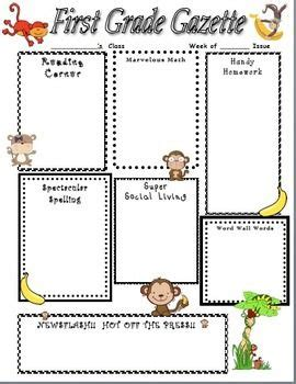 Mischievous Monkey Home Learning Newsletter Classroom Newsletter Templates Pinterest Monkey Newsletter Template