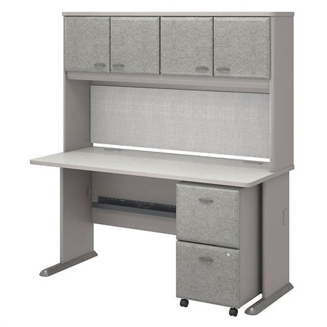 bush business series a 60 quot desk with hutch in pewter white