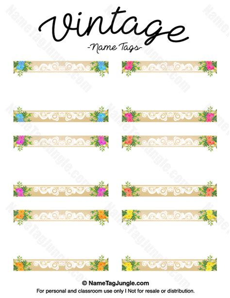 vintage name card template free printable vintage name tags the template can also be