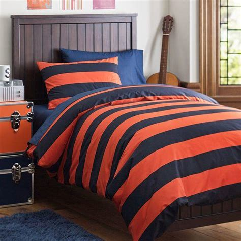 Orange And Navy Bedding by Rugby Stripe Duvet Bedding Bundle From Pbteen Bedding