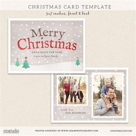 Digital Photoshop Christmas Card Template For Photographers Psd Flat Digital Card Templates