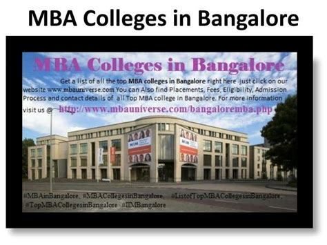 College Bangalore Mba Reviews by Ppt Mba Colleges In Bangalore Powerpoint Presentation