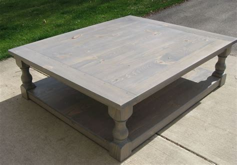 handmade large pine rustic look coffee table by