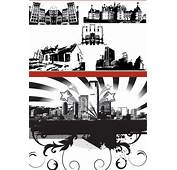 Black And White Silhouette Urban Architecture Vector Free 3