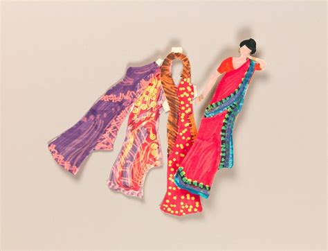 Paper Dolls Craft - indian sari paper dolls craft crayola