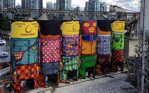 dupla os gemeos faz grafite gigante ao ar livre  canada