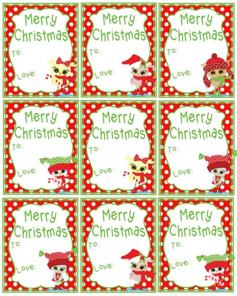 printable christmas gift tags merry christmas cute