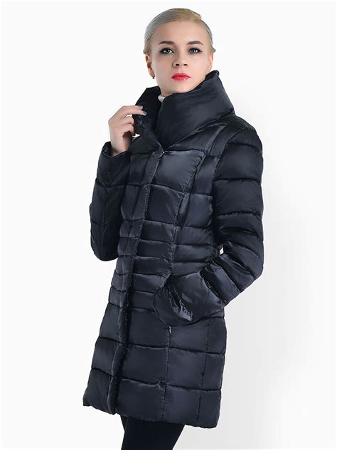 stand collar padded coat zipper press studs stand collar padded s parka jackets