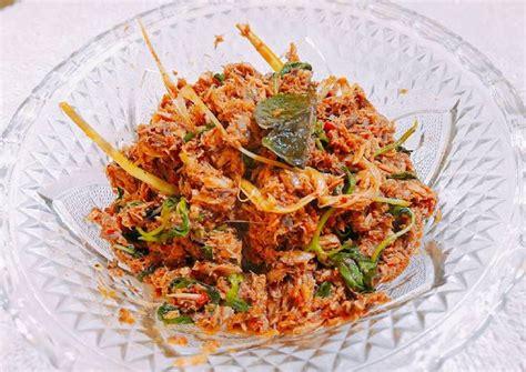 resep suwir ikan tongkol pedes daun kemangi oleh ekha