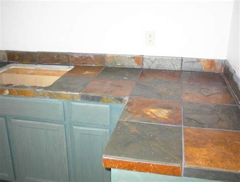 Slate Tile Kitchen Countertops by Green Figs