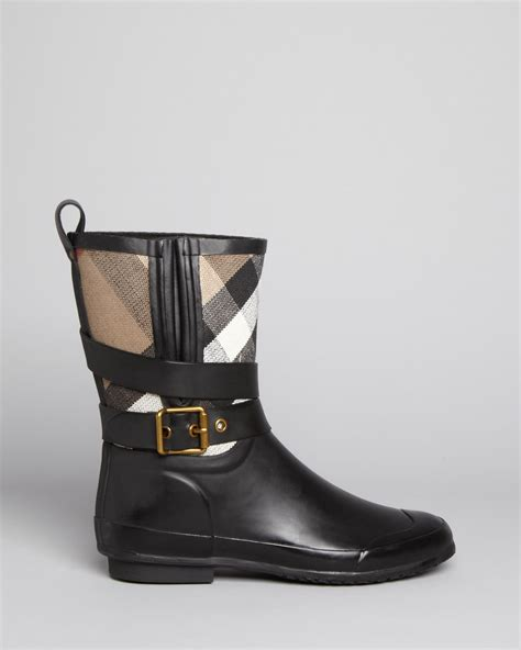 s burberry boots burberry boots holloway mid buckle check in black