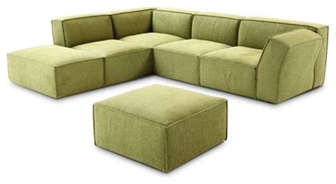 776 green microfiber fabric sectional sofa with matching