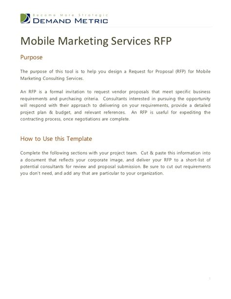 mobile marketing rfp template