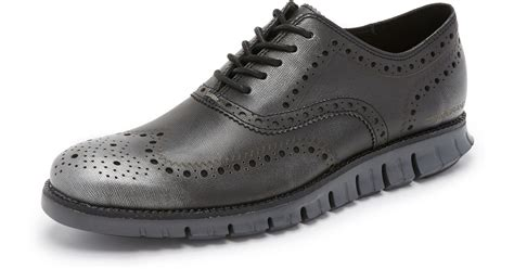 Favorite Cole Black Silver lyst cole haan zerogrand wingtip oxfords in metallic for
