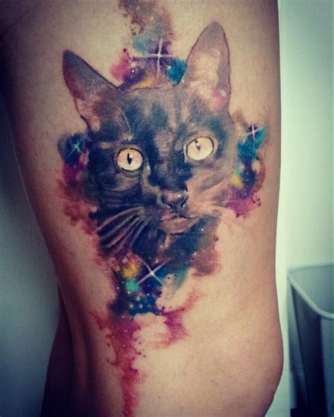 watercolor tattoo danmark cat galaxy blackcat watercolor franltattoo