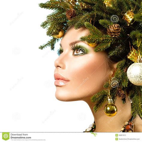 christmas hairstyles for women hairstyle stock photo image 35851912