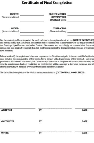 contractor s certificate of final completion form 5 99