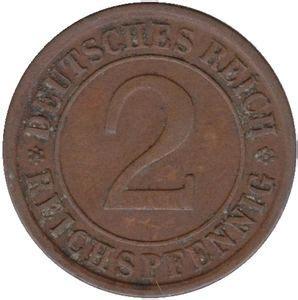 Chs Sports Gift Card - coin 2 reichspfennig a d e f g j germany weimar republic reichsmark