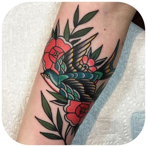 the end is near tattoo traditional bird and flowers by becca genn 233 bacon the end