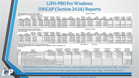 section 263a calculation sec 263a unicap costs lifo services software