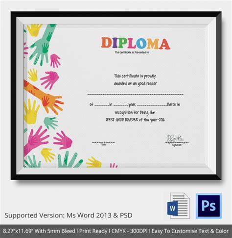 Diploma Certificate Template by School Certificate Template 17 Free Word Psd Format