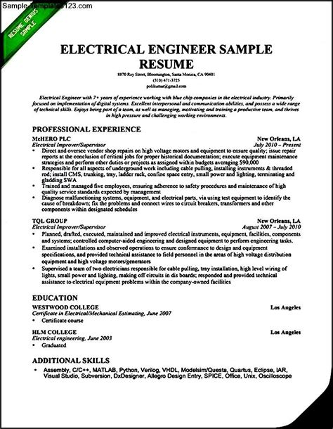 electrical engineering resume template electrical engineer resume sle 2016 sle templates