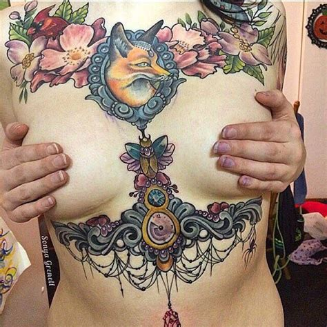 under bra tattoo sternum and breast plus a bra
