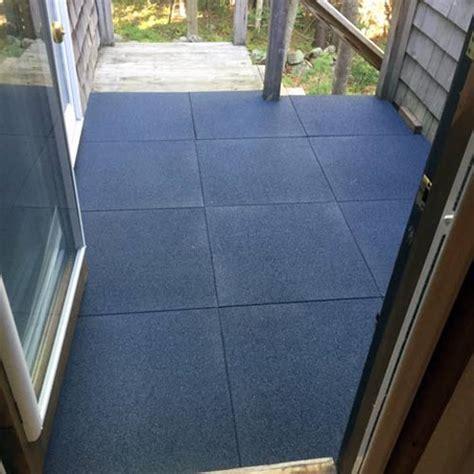 Patio Rubber Floor Tile Gray   Sterling Patio Flooring 2 inch