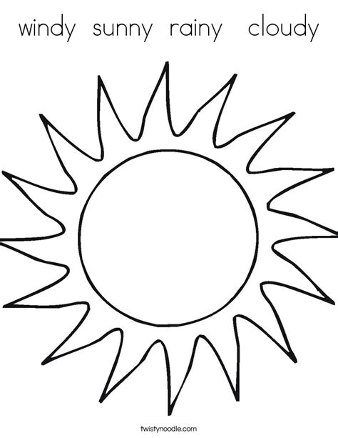 coloring pages sunny weather windy sunny rainy cloudy coloring page twisty noodle