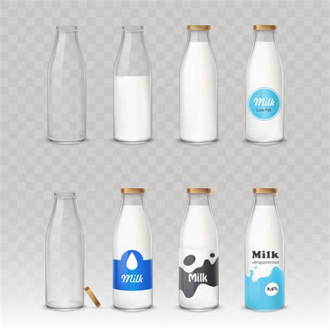 Set Of Glass Bottles With Milk With Different Labels Vector Free Download Milk Bottle Label Template