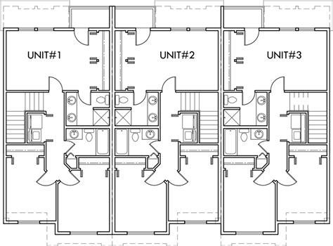 multi family house plans triplex triplex multi family plan 3 bedroom 1 car garage triplex