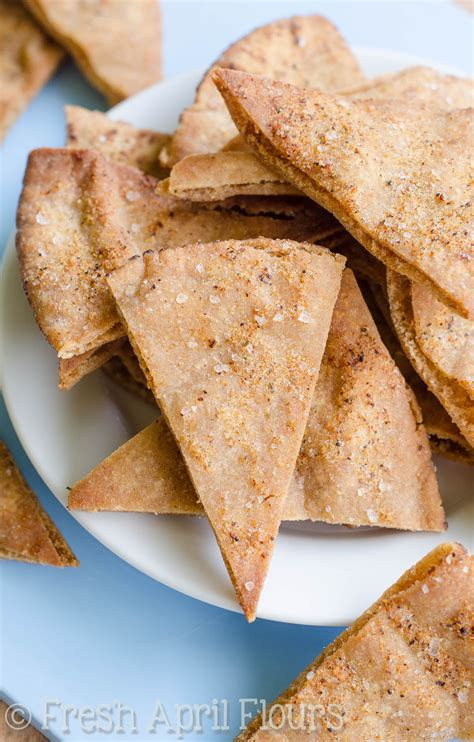 freshfromevaskitchen homemade pita chips with olive homemade pita chips