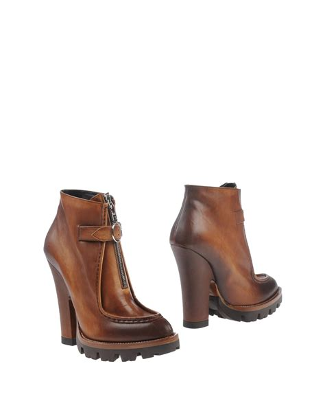 prada boots prada ankle boots in brown lyst