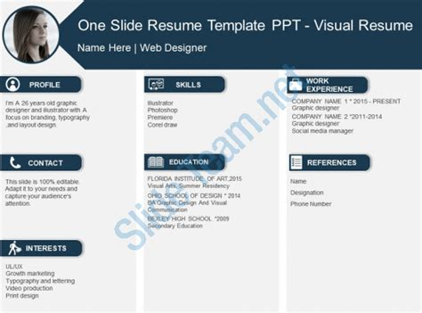 powerpoint templates for visual resume one slide resume template ppt visual resume powerpoint