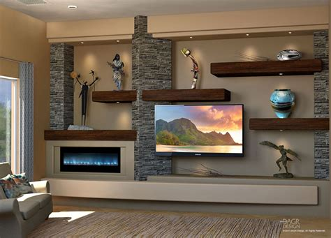 media wall floating shelves custom media wall design by dagr design