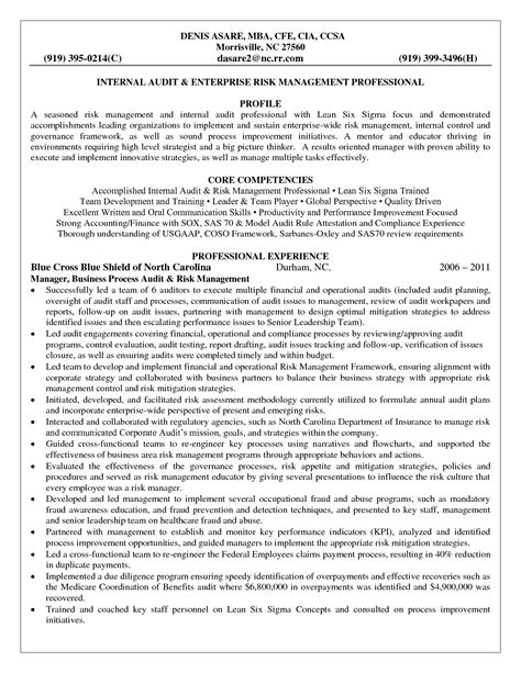 enterprise risk management resume sales management