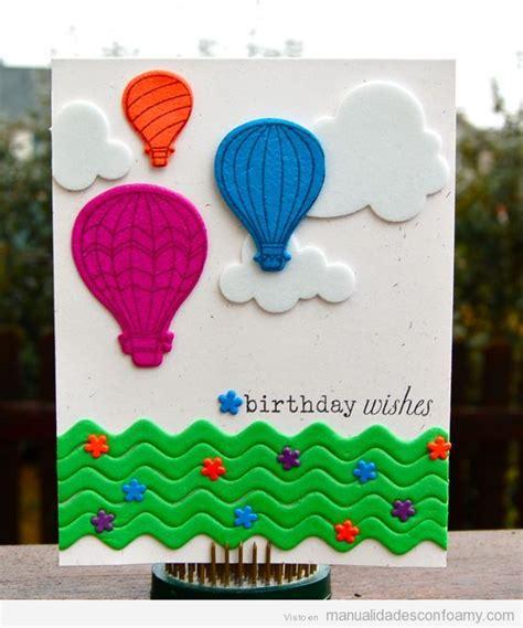 imagenes navideñas hechas de foami tarjeta de cumplea 241 os hecha con foamy globos en las nubes