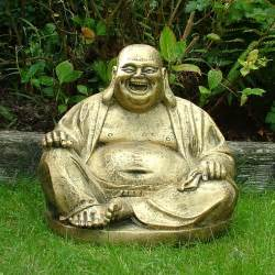 Garden Ornaments Gold Laughing Buddha Statue Sculpture Garden Ornament