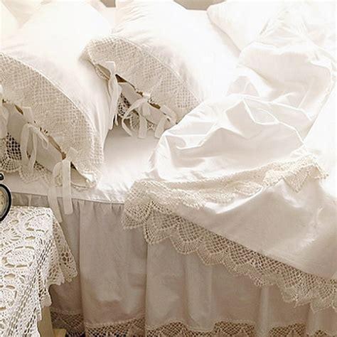 top romantic bedding set elegant european wide white satin duvet cover crochet lace bedspread