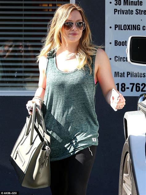 greene fighting fit gorgeous hilary duff steps out in green