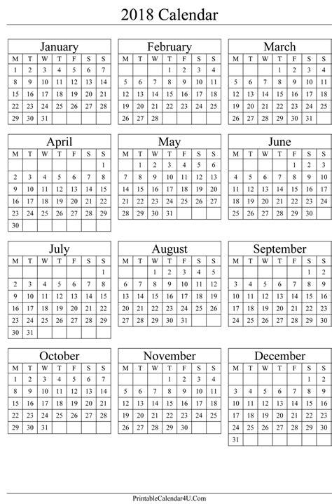 printable monthly calendar 2018 portrait annual calendar 2018 portrait printable calendar 2017
