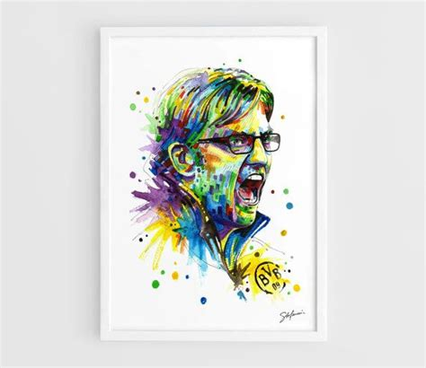 watercolor tattoo dortmund jurgen klopp borussia dortmund a3 prints of the by