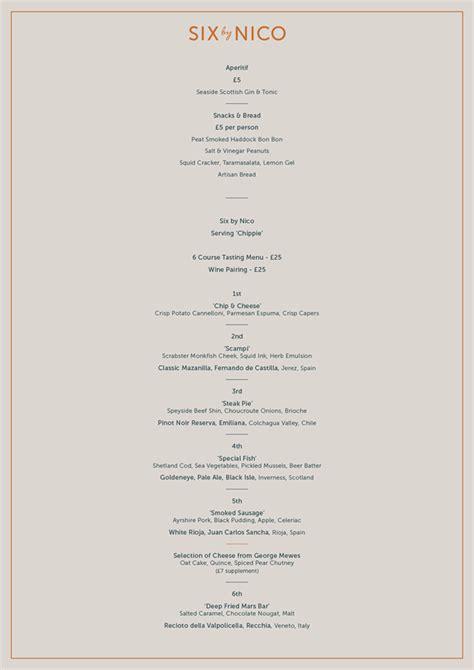 menu design glasgow six by nico glasgow restaurant reviews designmynight