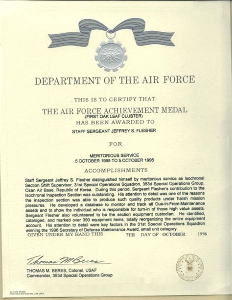 air achievement medal template about vets help center