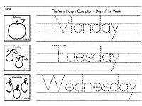 days of the week worksheets for preschool and kindergarten