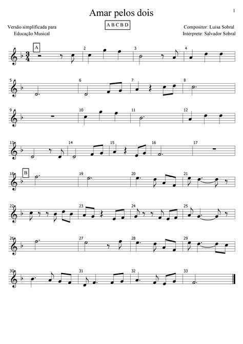 Amar pelos dois - Salvador Sobral - Partitura - Pag 1-2