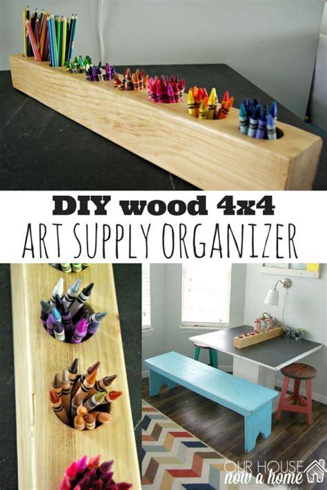 diy wood  art supply organizer   rustic