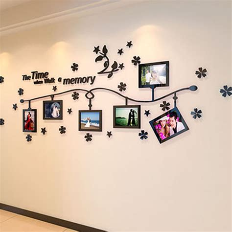 designer wall stickers photo frame and flower design acrylic 3d wall stickers diy