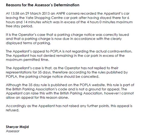Popla Appeal Letter Template Parking Prankster Popla Discard 35 Day Rule Bpa Ltd Code